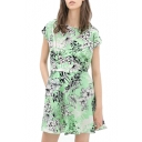 Green Short Sleeve White Plants A-line Dress