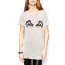 Gray Short Sleeve Bear Claw Print Tunic T-Shirt