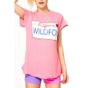 Pink Short Sleeve Wild Fox Print Fitted T-Shirt