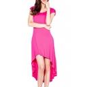 Red Cutout Back High Low Short Sleeve Dress