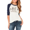 Gray Raglan Long Sleeve Letter Print T-Shirt