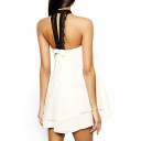 White Lace Insert Halter Bow Back Layered Dress