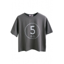 Letter Print Round Neck Tee