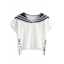 White Striped Navy Short Sleeve Drawstring Tee