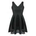 Black V-Neck Cutout Solid Must-Have A-line Dress