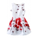 Red Flower&Butterfly Print Sleeveless Fit&Flare Dress