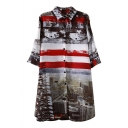 National Flag&City Scenery Print Shirt Midi Dress