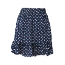Dark Navy Background All Over Cute Flora Elastic Waist Short Skirt
