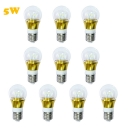 10Pcs 6000K 300lm 5W 85-265V E27 Mini LED Ball Bulb  in Gold Fiinish