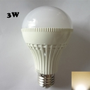180° E27 3W 3000K LED Ball Bulb in White PC