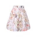 White Background Checker&Rose Print Organza Pleated Skirt