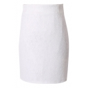 White Lace Flower Bodycon Office Lady Skirt