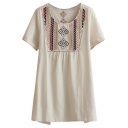 Cream Short Sleeve Ethnic Embroidered Loose Blouse