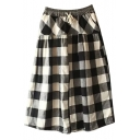 Black&Gray&White Plaid Pattern Mori Girl A-line Midi Skirt