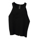 Back Zip Round Neck Knitting Crop Camis