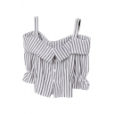 Gray Off-the-Shoulder Stripe Button Fly Ruffle Cuff Crop Blouse