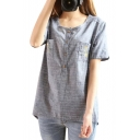 Gray Short Sleeve Double Pockets Giraffe Embroidered Button Fly Blouse