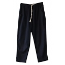 Drawstring Waist Casual Straight Leg Pants