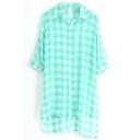 Green 1/2 Sleeve Plaid Step Hem Chiffon Midi Shirt