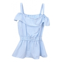 Blue Vertical Stripe Ruffle Layer Off-the-Shoulder Straps Blouse