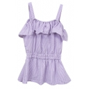 Lilac Vertical Stripe Ruffle Layer Off-the-Shoulder Straps Blouse