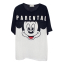 Black&White Block Micky Letters Print Loose T-Shirt