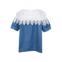White Lace Flower Cutwork Panel Denim Short Sleeve Blouse