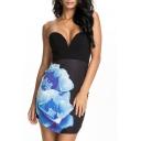 Off the Shoulder Floral Print Zip Back Mini Dress