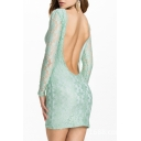 Green Lace Inserted Long Sleeve Fitted Mini Dress