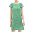 Petal Short Sleeve Green White Tiny Dot Print Midi Column Dress