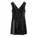 Split V-Neck Tanks Slim PU Dress