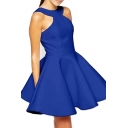 Royal Blue Halter Style Cutout A-line Modern Dress