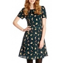 Short Sleeve Dark Green Back Birds Print A-line Midi Dress with Belt