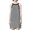 Contrast Color Trim Round Neck Sleeveless Mono Checker Pattern Print Midi Column Dress