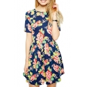 Vintage Rose Print Short Sleeve Dress