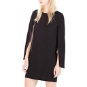 Black Cloak sleeves Round Neck Shift Dress