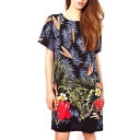 Plants Print Short Sleeve Round Neck Shift Dress