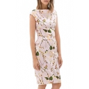 Pink Boat Neck Leaves Print Slim Knee Length Dress