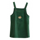 Cartoon Girl Embroidered Dark Green Overall Dress
