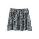 Blue Gingham Bow Tie Waist Comfort A-line Skirt