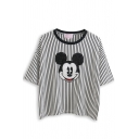 Black Striped Cartoon Animal Pattern Loose T-Shirt