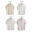 Men's Head Print Short Sleeve Chiffon Shirt