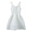 White V-Neck Cutout Solid Must-Have A-line Dress