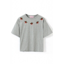 Gray Short Sleeve Cherry Embroidered Crop T-Shirt