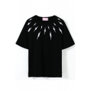 Black Short Sleeve White Flash Print T-Shirt