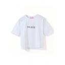 White Short Sleeve Happy Print Crop T-Shirt