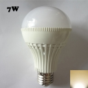 Warm White Light 180° E27 7W  LED Ball Bulb in White