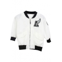 White 3/4 Sleeve Letters Embroidered Crop Baseball Jacket
