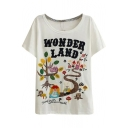 White Forest&Little Girl Appliques T-Shirt