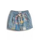 Double Zipper Embellish Comic Letters Print Denim Shorts